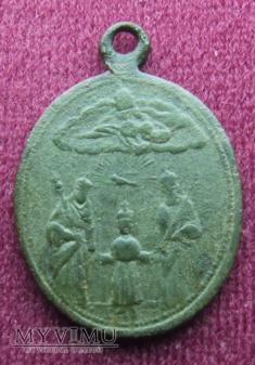 Duże zdjęcie Stary medalik ze św. Rodziną
