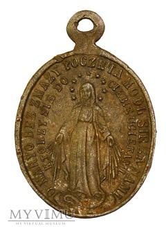 Medalik aluminiowy z Matką Boską
