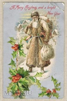 Różowo - srebrny Mikołaj z zabawkami