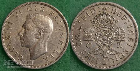 Wielka Brytania, 2 SHILLINGS 1951