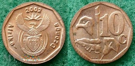 South Africa, 10 cents 2002 Dzonga