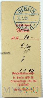 Dowód wpłaty, przelewu Berlin 1929