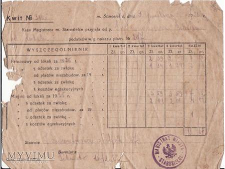 Kwit podatkowy z 1926.