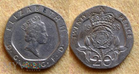 Wielka Brytania, 20 PENCE 1988