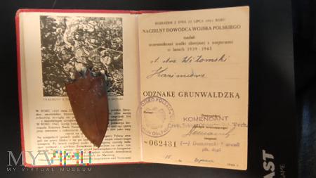 Legitymacja nadanie + odznaka OG z 1946 r.
