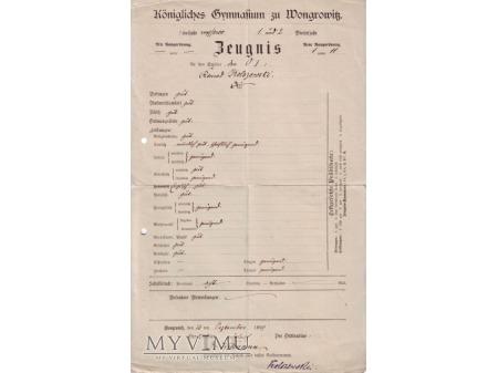 Świadectwo Królewskie Gimnazjum w Wągrowcu 1899
