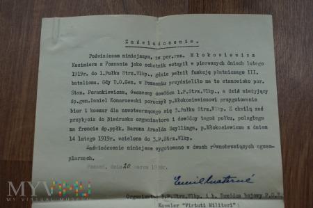 Zaświadczenie o wstąpieniu do wojska w 1919r.