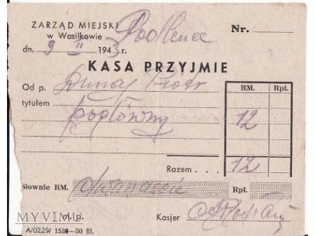 Dowód wpłaty-Wasilków 1943.