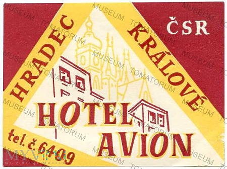 """Duże zdjęcie Czechosłowacja - Hradec Karlove - Hotel """"Avion"""""""