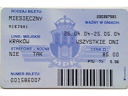 Bilet MPK Kraków 38