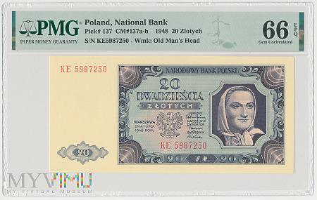 Polska - 20 złotych, 1948r. PMG 66 EPQ