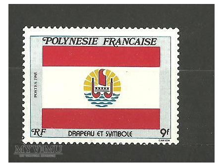Flaga Polinezji Francuskiej.