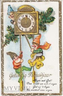 Duże zdjęcie circa 1920 gnomy zabytkowy zegar
