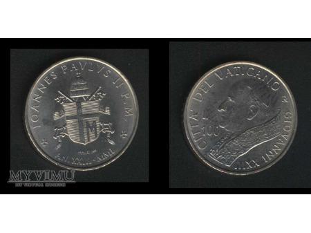 100 lirów IOANNES PAVLUS II P.M. AN.XXIII-MIMI