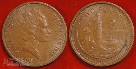 Duże zdjęcie Gibraltar, 2 pensy 1989