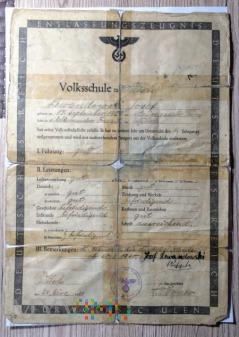 Świadectwo szkoły podstawowej 1944 rok