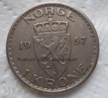 Norwegia - 1 korona - 1957 rok