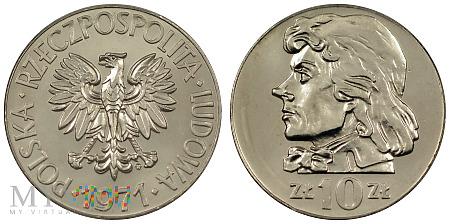 10 złotych, 1971, Tadeusz Kościuszko, odmiana B