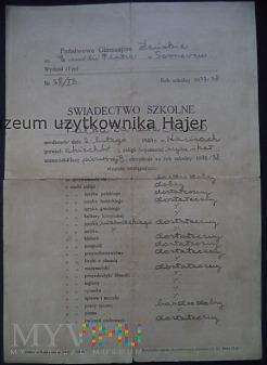 Świadectwo Szkolne Sosnowiec 1937/1938 rok