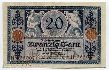 Duże zdjęcie Niemcy, Imperium - 20 marek, 1915r. UNC