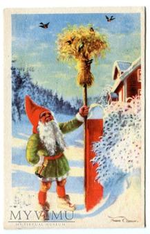 c. 1947 Krasnal i życzenia świąteczne Finlandia