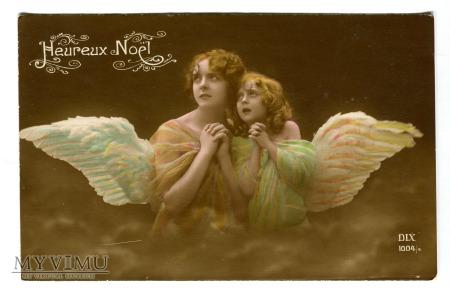 Duże zdjęcie Anioły Boże Narodzenie Pocztówka Heureux Noël