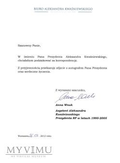 Autograf od Aleksandra Kwaśniewskiego