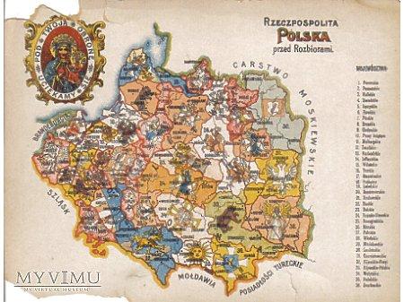 Pocztówka z mapą i herbami.