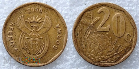 South Africa, 20 cents 2000 Borwa