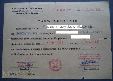 Aeroklub Podkarpacki Krosno ukończenie kursu WPD