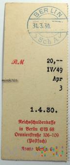 Dowód wpłaty, przelewu Berlin 1930