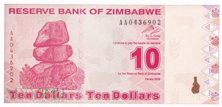 Zimbabwe - 10 dolarów (2009)