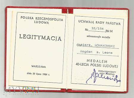 B.Nowakowski - legitymacja medalu 40-lecia PRL