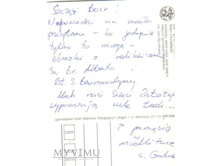 List ze zgromadzenia Sióstr Albertynek