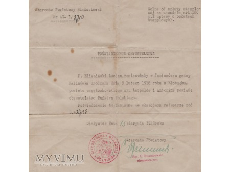 Poświadczenie obywatelstwa-1938.
