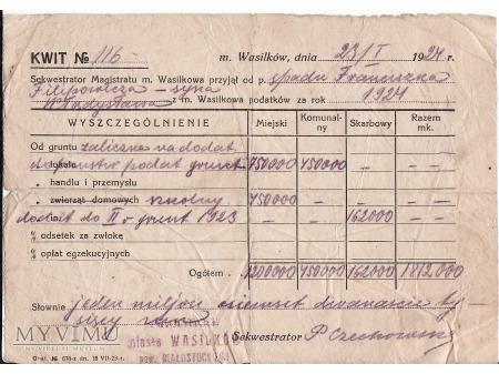 Kwit podatkowy-Wasilków 1924.