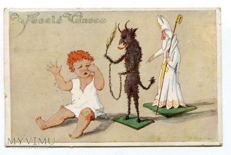 1935 Krampus i St. Nicholas B. Kozina Devil