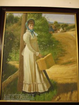 Kobieta z walizką - obraz olejny