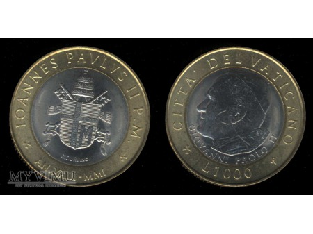 1000 lirów IOANNES PAVLUS II P.M. AN.XXIII-MIMI
