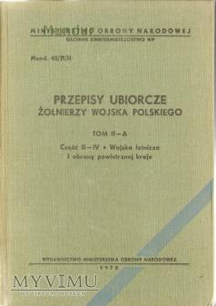 Przepisy ubiorcze żołnierzy Wojska Polskiego II-A