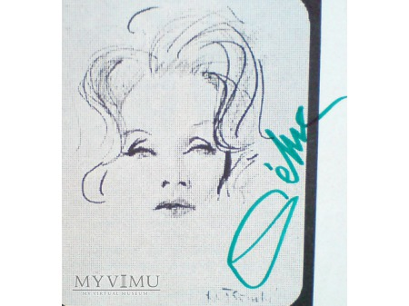 Marlene Dietrich Autograf na wycinku prasowym