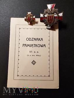 Legitymacja do Pamiątkowej Odznaki 57 Pułku Piech.
