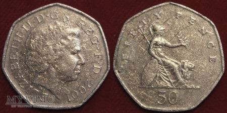 Wielka Brytania, 50 pence 2001