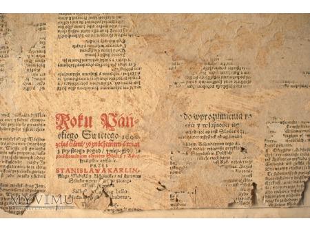 KALENDARZ STANISŁAWA KARLINA - 1600 rok