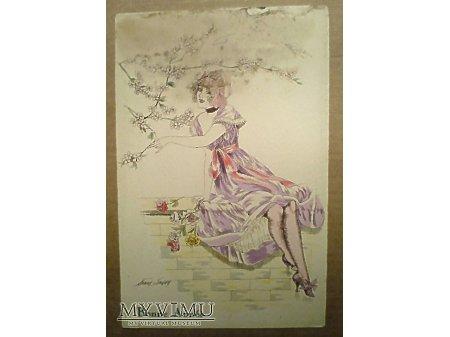 Xavier Sager Dziewczyna na murku akwarela 1919