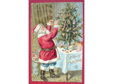 Święty Mikołaj ubiera choinkę Boże Narodzenie