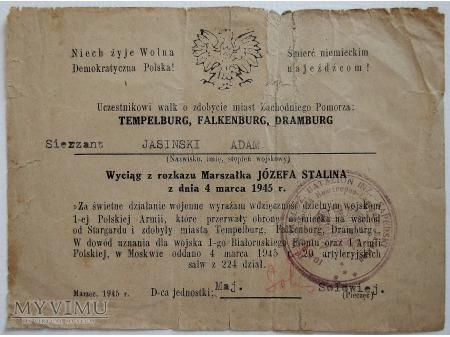 Duże zdjęcie Dyplom gratulacyjny za zdobycie miejscowości