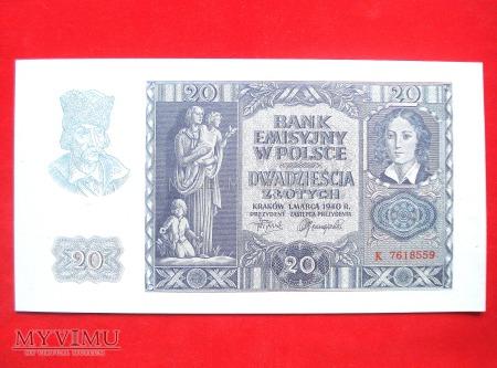 20 złotych 1940