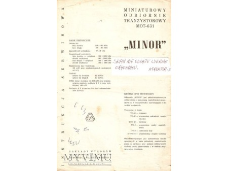 Instrukcja radia MINOR