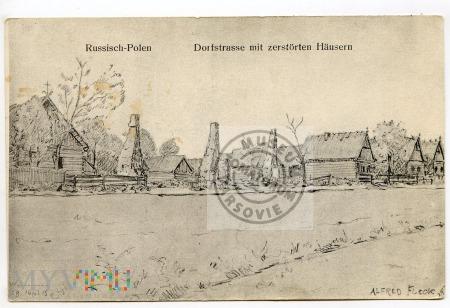 Rosyjska Polska - Zniszczone domy przy drodze
